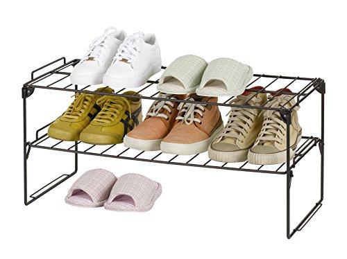 Finnhomy 2-tier Economy Stackable Metal Shoe Rack Adjustable Shoe Organizer Shelf for Closet Bedroom & Entryway Bronze (Rack Shoe Gold)