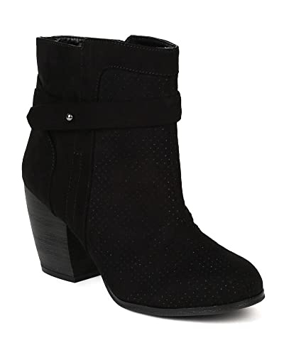 BC57 Women Suede Perforated Round Toe Chunky Heel Ankle Bootie - Black
