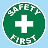 """Safety First, Hard Hat, Tool box, Lunch Box, Decal Sticker Label Placard 2""""W X 2""""H - Sold in Package of 1, Style 1"""