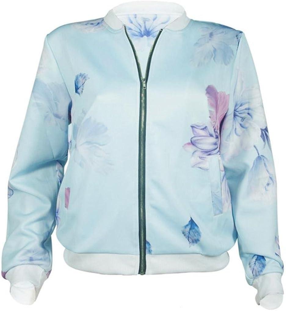 Longra Damenmode Fr/ühling Herbst Floral Baseball Mantel Tops Coat Bomberjacke Bikerjacke Rei/ßverschluss Fliegerjacke Kurzjacke Frauen Langarm Sweatshirt Pullover Jacke Outwear Mantel