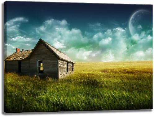 Casa de madera en caja de foto sobre lienzo, tamaño: 60x40 cm ...