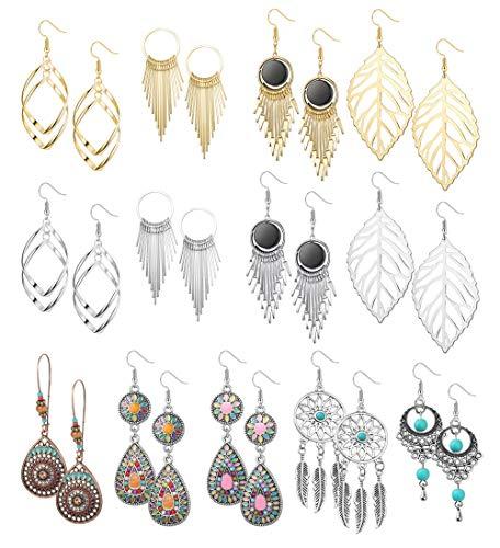 CASSIECA 13 Pairs Vintage Bohemian Drop Earrings Boho Geometric Pendant Dangle Earrings for Women Girls Statement Earrings Set