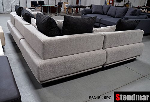 Amazon.com 5pc Modern 10 Functions Setup Fabric Sectional Sofa S6315G Kitchen u0026 Dining : stendmar sectional sofa - Sectionals, Sofas & Couches