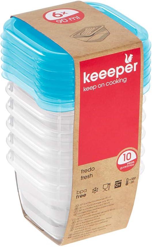 keeeper Set de 6 Fiambreras, 6 x 90 ml, 6,5 x 6,5 x 4 cm, Fredo Fresh, Azul transparente