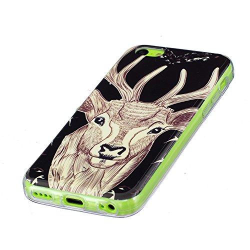 iPhone 5C Schutzhülle , LH Hirsch TPU Weich Muschel Tasche Schutzhülle Silikon Hülle Schale Cover Case Gehäuse für Apple iPhone 5C