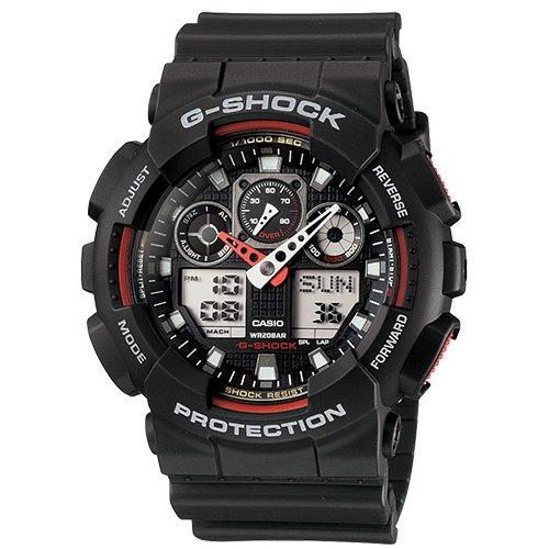 World Time Gents Watch - G-Shock Ana-digi World Time Black Dial Men's watch #GA100-1A4