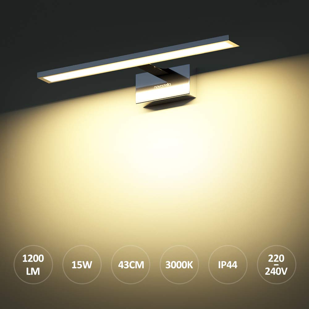 Impermeable IP44 Luz Blanca C/álida 3000K L/ámpara de Pared Cuarto 430mm* 95mm*135mm Novostella 15W Aplique Espejo Ba/ño LED 1200LM L/ámpara Brillante de Espejo