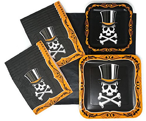 Halloween Paper Plates Napkins and Tablecloth Bundle of 4, Service for (Scary Appetizers For Halloween)