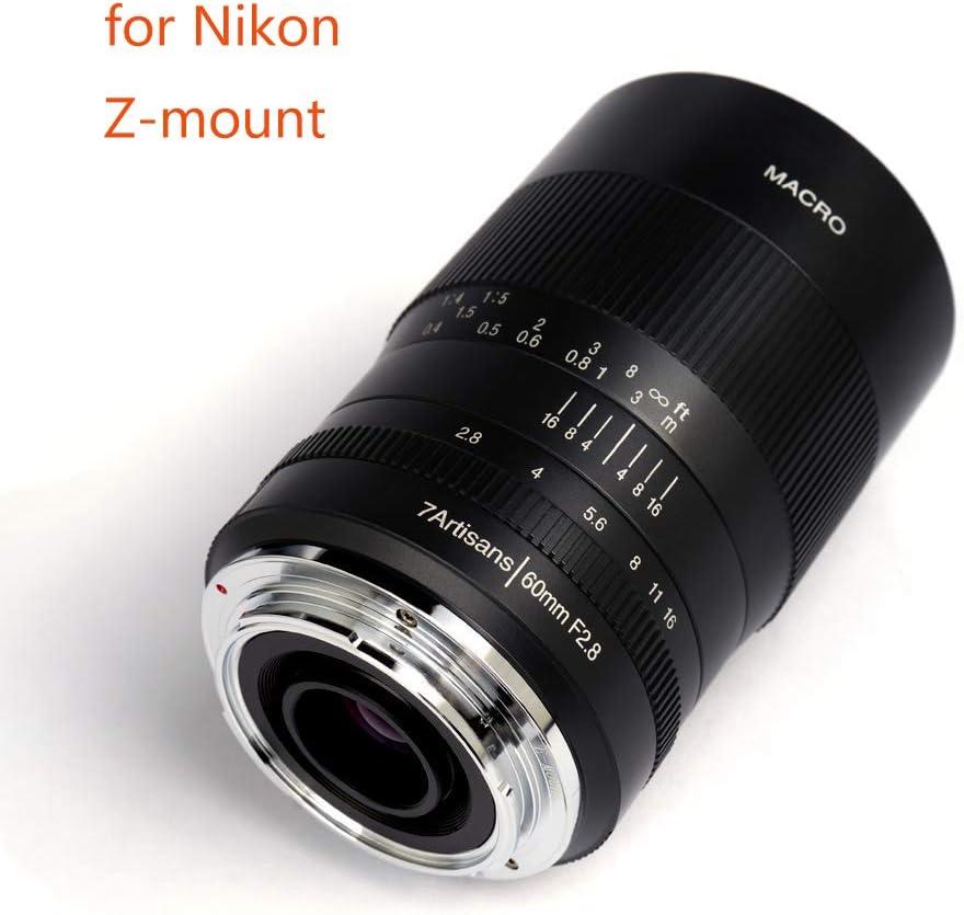 7artisans Objectif macro fixe 60 mm F2.8 APS-C pour appareil photo Nikon Z sans miroir Mise au point manuelle pour macro photographie