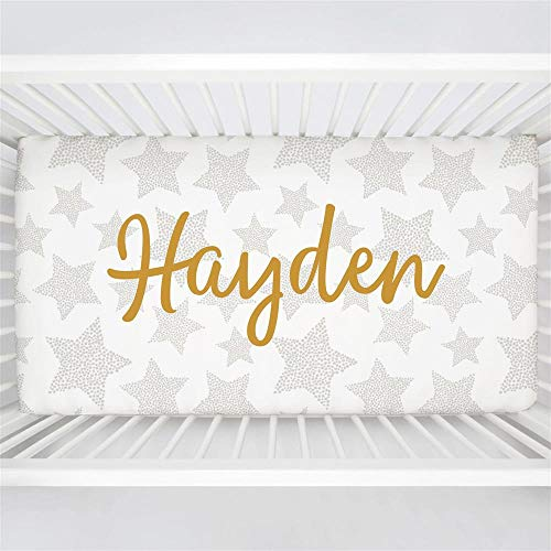 Carousel Designs Personalized Custom French Gray Galaxy Stars Crib Sheet Hayden Idea - Organic 100% Cotton Fitted Crib Sheet - Made in The USA