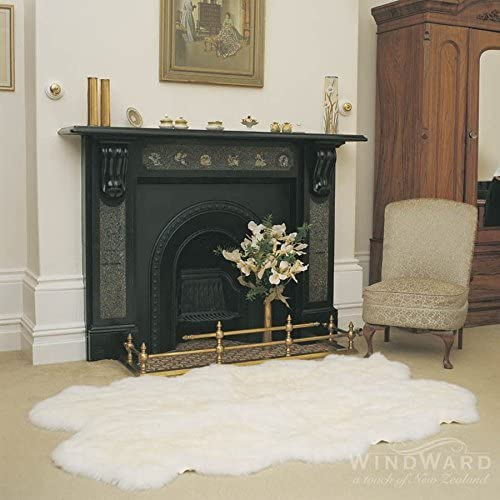 Windward Natural Sheepskin Plush Area Rug Bright White Color Approx 73 x43 Extra Soft Touch of Luxury