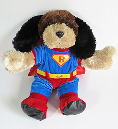 Bear Factory Large Plush Shaggy Dog Tan Brown and Black in SuperBear Outfit - 18 Inches (Shaggy Bear Black)