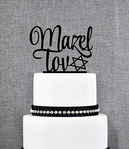 Custom Mazel Tov Cake Topper, Jewish Wedding Cake Topper, Bar Mitzvah Cake Topper, Bat Mitzvah Cake Topper, Graduation Cake Topper (T319)