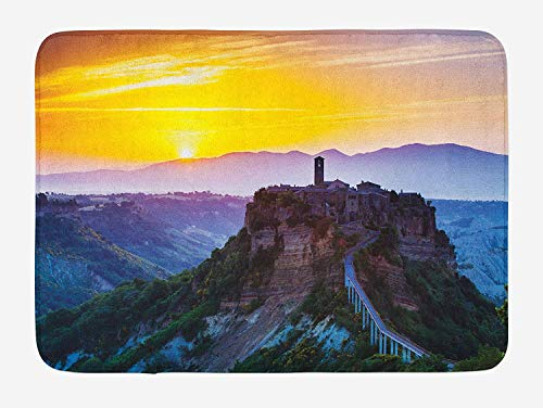 Italian Bath Mat, Old Historic Castle Town on Top of The Hills in Italian Renaissance at Sunset Print, Plush Bathroom Decor Mat with Non Slip Backing, 23.6 W X 15.7 W Inches, Multicolor