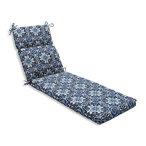 Pillow Perfect Outdoor Indoor Woodblock Prism Chaise Lounge Cushion, Blue