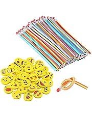LATERN 80 stuks buigpotloden voor kinderen en emoji smiley gummen, buigbare potloden, flexibele flexibele potloden voor kinderen, feestjes en kleine geschenken