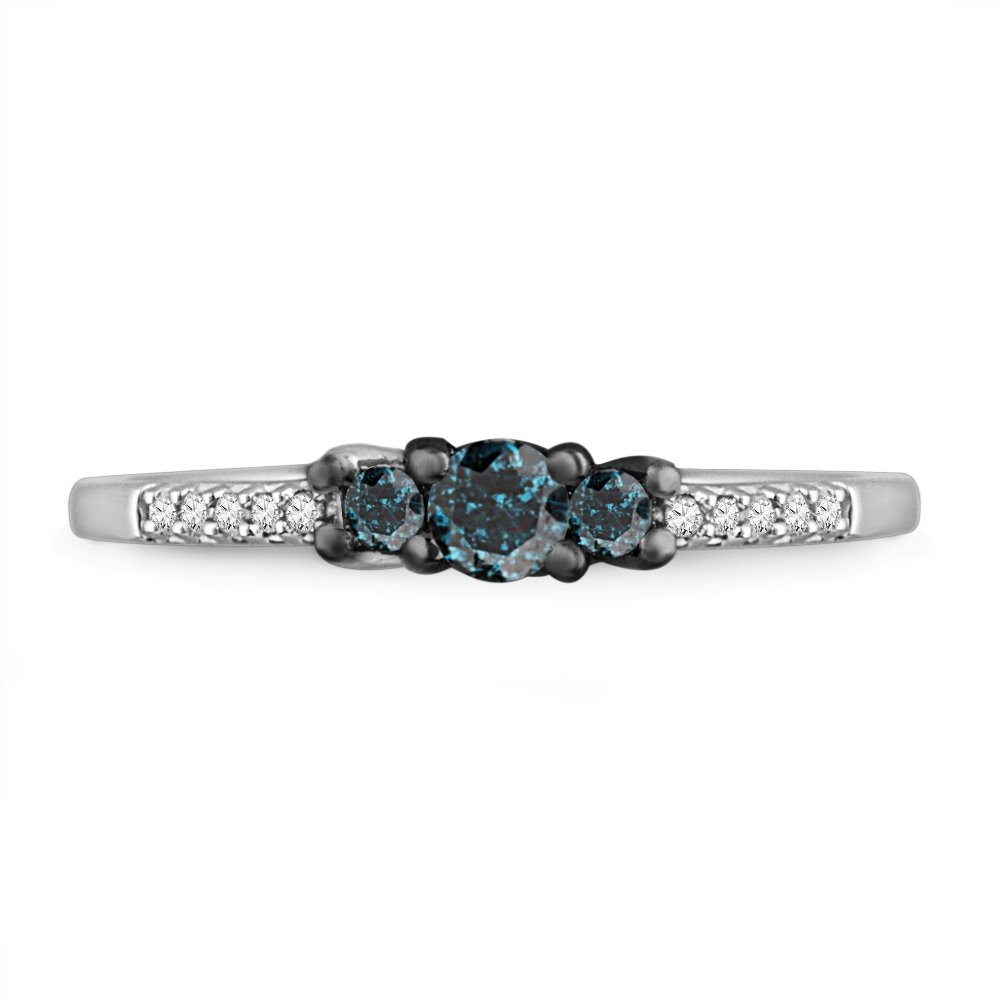 10KT White Gold Blue And White Round Diamond Three Stone Promise Ring (1/3 cttw)
