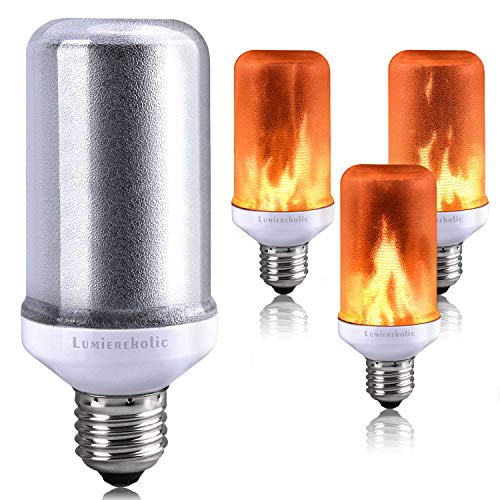 Lumiereholic LED Bulbs Flame Effect Light Bulb Fire Flickering Decorative Bulbs Simulated Nature Fire Atmosphere Lamp for Christmas/Home/Party/Garden/Bar/Halloween/Festival Decoration