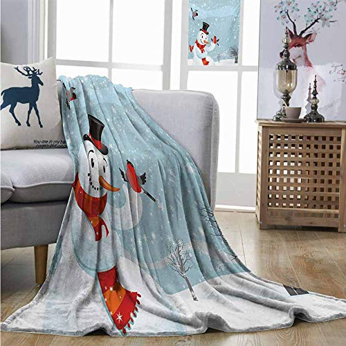 New York Yankees Snowman - Degrees of Comfort Weighted Blanket Snowman Snowfall Festive New Years Eve Celebration Theme Xmas Figure with Bullfinch Birds Full Blanket W54 xL84 Multicolor