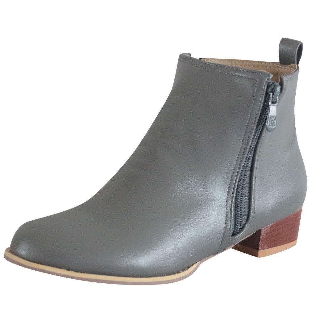 Shusuen Women's Basel Ankle Bootie PU Waterproof Ankle Zipper Booties Gray by Shusuen_Shoes