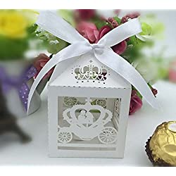 Krismile® 2015 50PCS White Laser Cut Cinderella Enchanted Carriage Marriage Box,pumpkin carriage Wedding Favor Boxes Gift box Candy box
