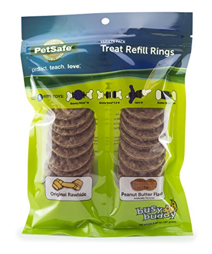 PetSafe Dog Treat Ring Variety Pack for Busy Buddy Toys - 2 Tasty Flavors - 24 Refills - Medium