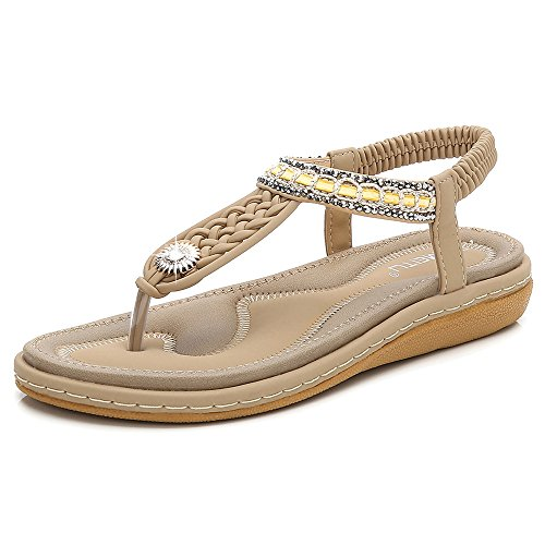 De Clip SHANLY Slip Cuero Piscina para Zapatos Beach Bohemia De Verano Sandalias para Chancletas con con Mujer Beige De Imitación De PU Diamantes En vxqHrvF
