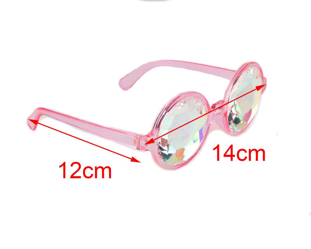 Amazon Prime Deals,Black/Pink/White Black Kaleidoscope Glasses- Rainbow Rave Prism Diffraction by Careonline (Image #5)