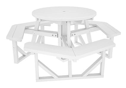 Amazoncom POLYWOOD PHWH Park Round Picnic Table White - White round picnic table