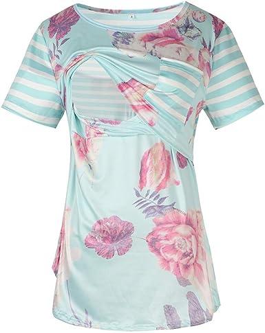 Mitlfuny Camiseta de Lactancia Maternidad a Rayas Chaleco Camisa Mujer Blusa Las Mujeres Embarazadas de enfermería Manga Corta Raya de impresión Remiendo de Flores Tops Camiseta: Amazon.es: Ropa y accesorios