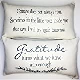 Evelyn Hope Collection Gratitude-courage ivory message Throw Pillow
