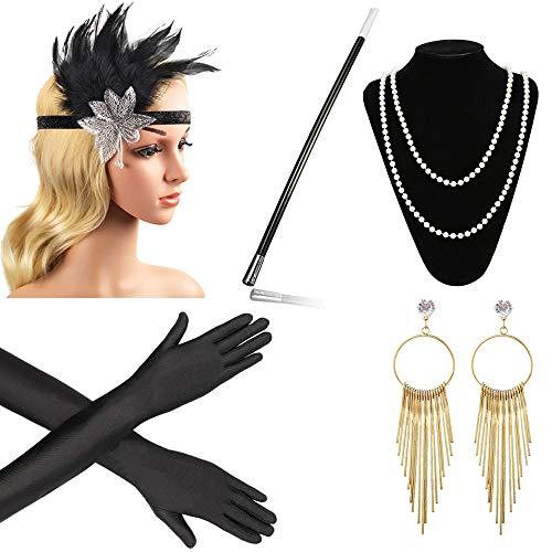 Beelittle 1920s Accessories Headband Earrings Necklace Gloves Cigarette Holder ()