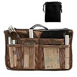 Nylon Handbag Insert Comestic Gadget Purse Organizer (Brown)
