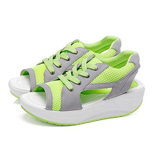 Sandalias gruesas de la comodidad del verano de la manera de la mujer Green
