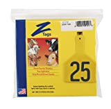 Z Tags 1-Piece Pre-Numbered Hot Stamp Tags for Cows, Numbers from 176 to 200, Yellow