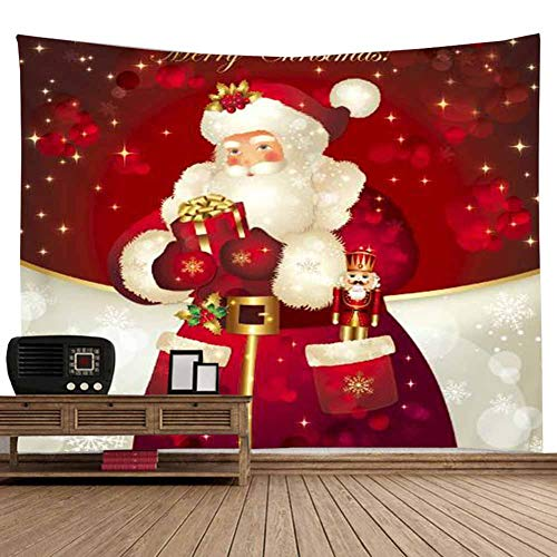 POPPAP White Beard Old Man Santa Claus Wall Decor Tapestry, Santa Claus Bring Gifts Digital Print Christmas Party Scene Setters Wall Decoration Background Accessory(79