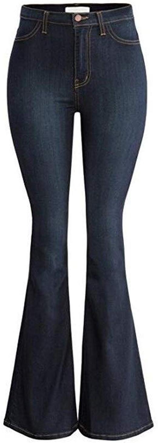 女性の ド蝶コーテ タイトなジーンズマイクロベルボトムハイウエストワイドレッグパンツ いシェイプ