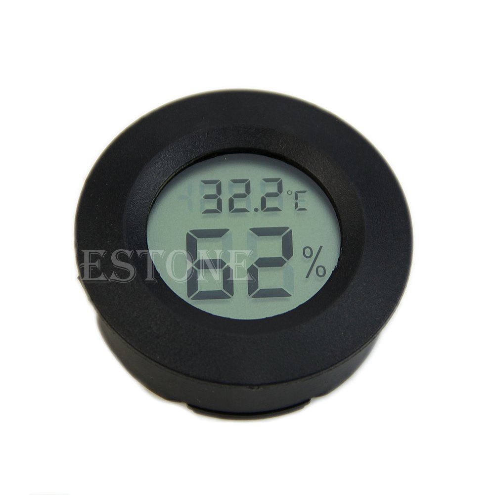 Poity Digital Cigar Humidor Hygrometer Thermometer Round Face New Black