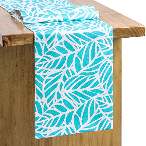 13 x 72 Inches Blue Leaves Table Runner Pattern Hawaiian Nature and Vegetation Foliage in Blue and White Dining Room Kitchen Table Runner for Wedding Spring Party Beach Party Boho Table Runner]()