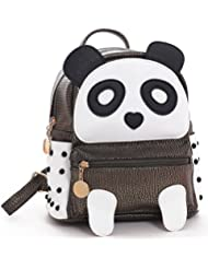 H&N Fashion PU Rivet Bronze Mini Casual Style Panda Backpack/ Shoulder/ Book Bag