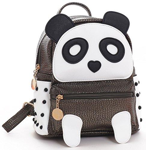 H&N Fashion PU Rivet Bronze Mini Casual Style Panda Backpack/ Shoulder/ Book Bag by H&N