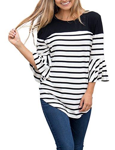 MEROKEETY Women's Ruffle Sleeve Striped Color Block Tops Crew Neck Casual Blouse T Shirt (Ruffle Neck Cardigan)