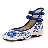 ALBBG Embroidered Chinese Style Embroidery Flats F Women's Shoes Heels Red White Black (B(M) US7.5/EU38/UK5.5/CN38 Medium, Blue-2)