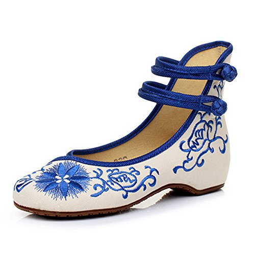 Embroidered Chinese Style Embroidery Flats F Women's Shoes Heels Red White Black (B(M) US7.5/EU38/UK5.5/CN38 Medium, Blue-2) (Women Shoe Flat Embroidered)