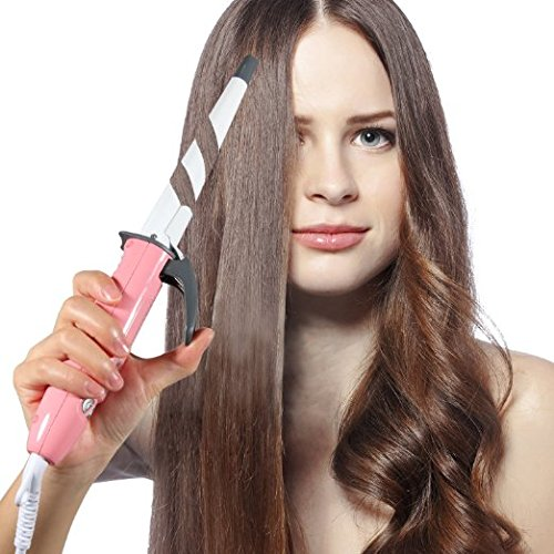 OLAXER EB201 Digital Ceramic Curling Wand Hair Curling Iron with Clipper - Pink - White