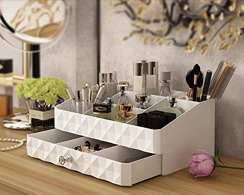 51yRX5lE7SL - Maxkim Makeup Organizer Jewelry and Cosmetic Storage,Large Capacity,Fit Different Size of Cosmetic,Brushes,Palettes,Lipsticks,1 Drawer 9 Compartment (Small )