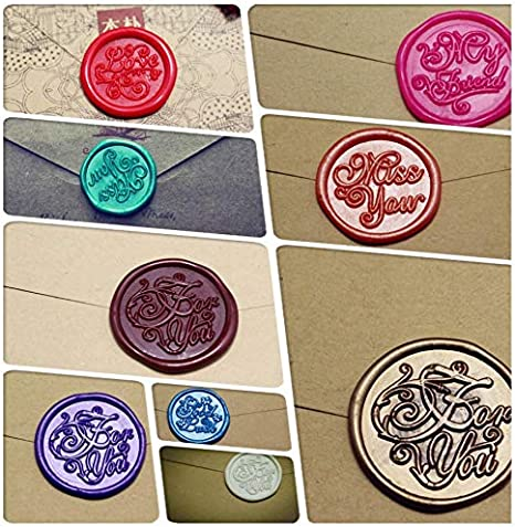 Style 1 6pcs Copper Sealing Wax Stamp with 1 Wood Hit Vintage Retro Arts Crafts Romantic Symbol Stamp Fancy Greetings for Wedding Party Baby Shower Gift Packing Invitation Letter Wax Seal Stamp Set