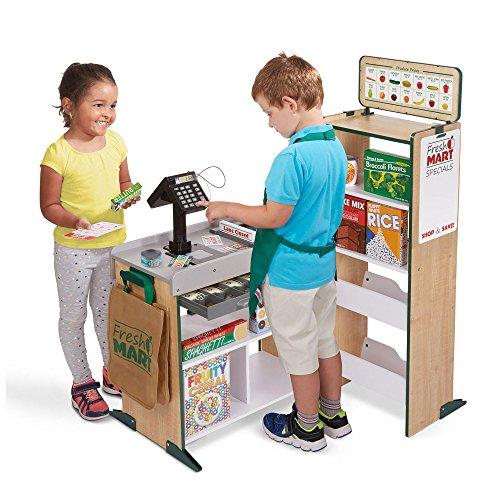 51yRXHil %2BL - Melissa & Doug Freestanding Wooden Fresh Mart Grocery Store, Standard, Multicolor