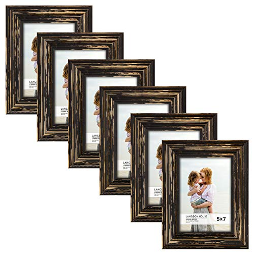 Langdons 5x7 Real Wood Picture Frames (6 Pack, Barnwood Brown - Gold Accents), Brown Wooden Photo Frame 5 x 7, Wall Mount or Table Top, Set Of 6 Lumina Collection ()