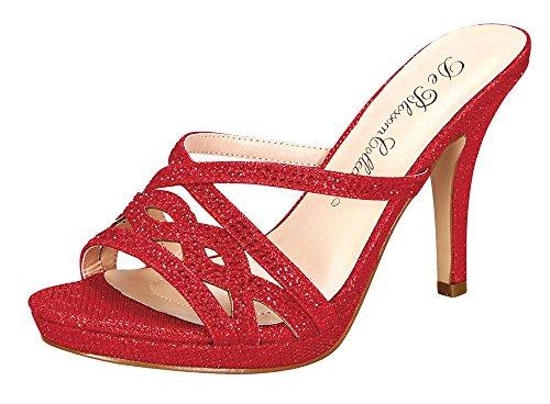 Sandalo Slip-on Da Donna Con Glitter E Sandali Rossi
